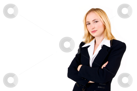 Lena Talberg #7 stock photo, Business woman in formal black suit, arms crossed - copy space by Sean Nel