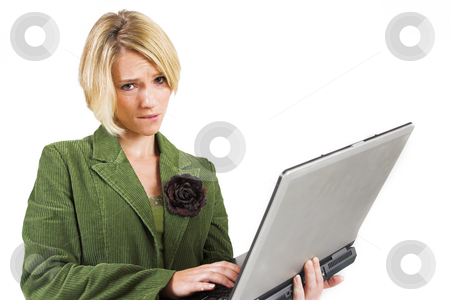 Business Lady #10 stock photo, Blond Business woman with notebook computer by Sean Nel
