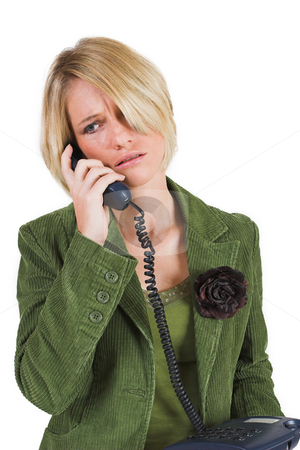 Heidi Booysen #4 stock photo, Business woman green jacket, talking friendly on the phone by Sean Nel