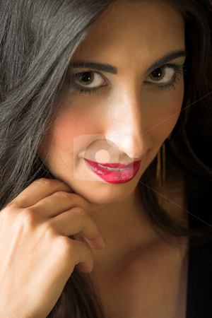 Italian adult woman stock photo, Beautiful young sexy adult Italian woman with long black hair, in formal black dress ? Hard light, high key by Sean Nel