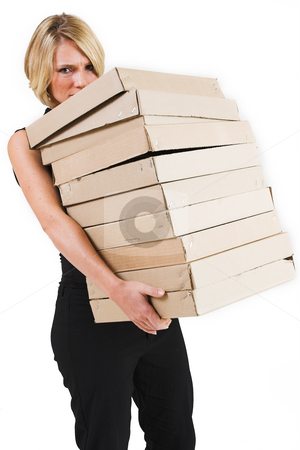 Business Lady #29 stock photo, Blond Business woman carrying boxes by Sean Nel
