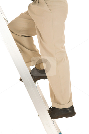 Businessman #33 stock photo, Man climbing the corporate ladder. by Sean Nel