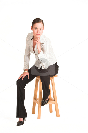 Charmaine Shoultz #42 stock photo, Business woman dressed in white pinstripe shirt.  Sitting on chair. by Sean Nel