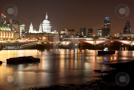 London#27 stock photo, Cityscape at nighttime  in London. by Sean Nel