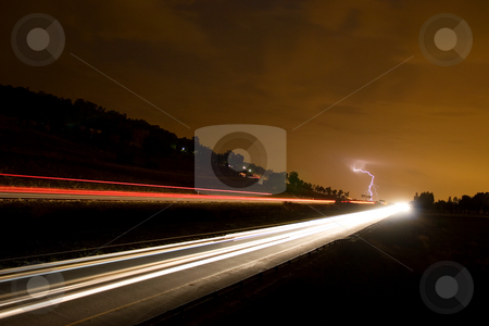 Nightlife #5 stock photo, Highway and lightning by Sean Nel