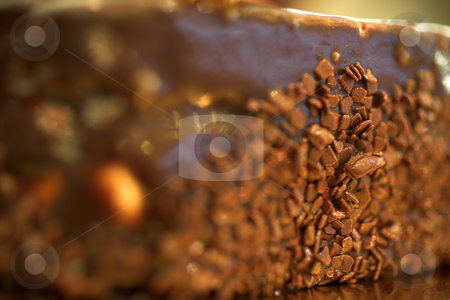 Pastry #30 stock photo, Chocolate flakes on the side of a cake in a French Patisserie and Chocolaterie - Very Shallow Depth of Field, copy space by Sean Nel