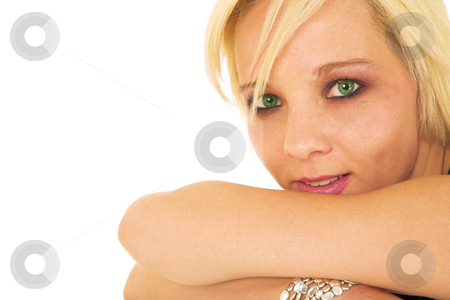 BlondeFace #1 stock photo, Green eyed blonde lady with silver jewelry by Sean Nel