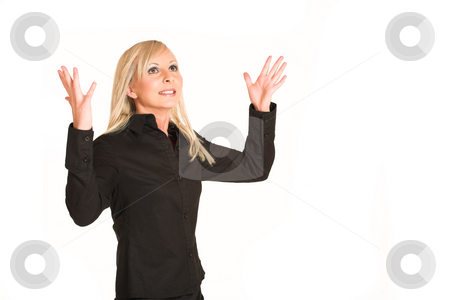 Business Woman #295 stock photo, Blond business woman dressed in black trousers and a black shirt.  Frustrated with hands in the air.  Copy space by Sean Nel