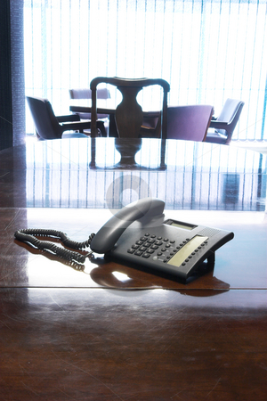 PABX #1 stock photo, PABX Telephone on boardroom table by Sean Nel