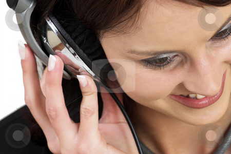 Music #12 stock photo, Woman with earphones by Sean Nel