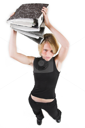 Business Lady #37 stock photo, Blond Business woman carrying files by Sean Nel
