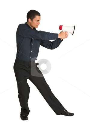 Businessman #220 stock photo, Businessman in a blue shirt, playing with a megaphone as if it is a gun. by Sean Nel