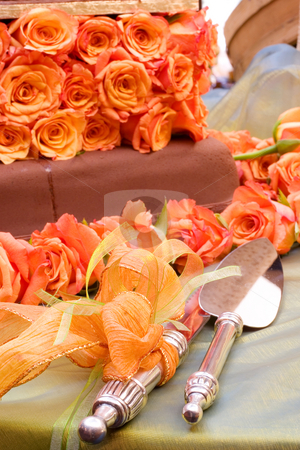 Wang Thai #7 stock photo, Table with cake, and cakel ifter and cake knife by Sean Nel