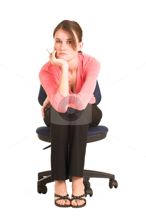 Businesswoman #410 stock photo, Brunette business lady in pink top. Sitting on an office chair by Sean Nel