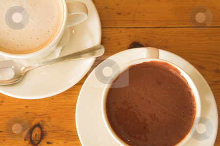 Lunch #32 stock photo, Hot chocolate and coffee on a wooden table by Sean Nel