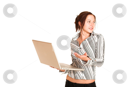 Business Woman #355 stock photo, Business woman with brown hair, dressed in a white shirt with black stripes. Holding a laptop.  Copy space by Sean Nel