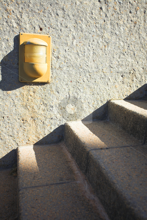 Steps in the sunset stock photo, Cement steps in sun and shade (very shallow Depth of Field) by Sean Nel