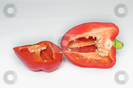 Peppers #2 stock photo, Red Pepper cut in half by Sean Nel