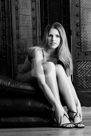 Woman #18 stock photo, Beatiful blonde woman sitting on Leather pillows in Lingerie - High Key BW by Sean Nel