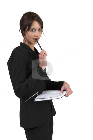Luzaan Roodt #26 stock photo, Business woman in formal black suit holding diary and pen by Sean Nel