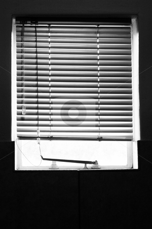 Shielded window stock photo, Kitchen window with blinds by Sean Nel