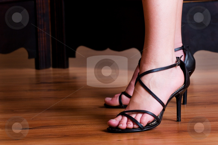 Shoes #12 stock photo, Black sandals by Sean Nel