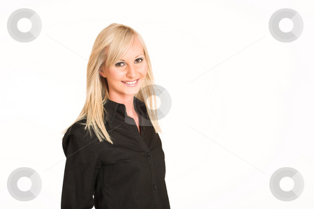 Business Woman #294 stock photo, Blond business woman dressed in black trousers and a black shirt.  Smiling - copy space by Sean Nel