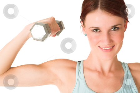 Gym #96 stock photo, Woman doing weight lifting. by Sean Nel