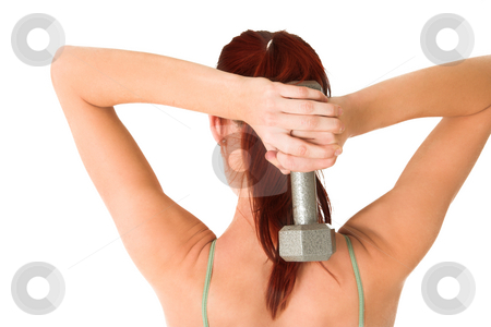 Gym #83 stock photo, Woman with weights by Sean Nel