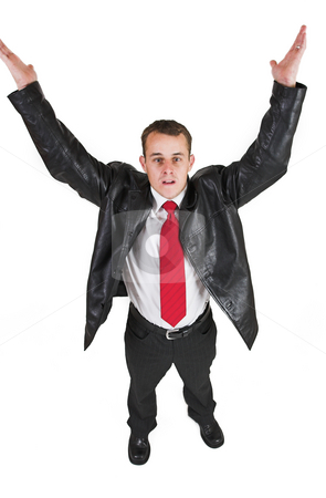 Tollie Booysen #5 stock photo, Businessman in black leather jacket, white shirt and red tie. Hands up in the air. by Sean Nel