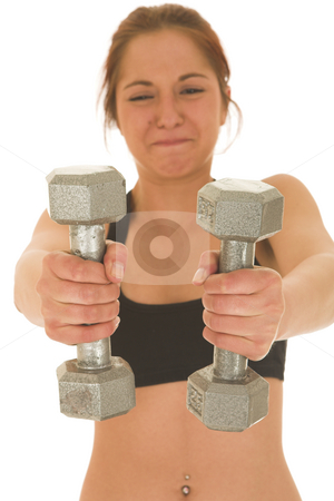 Gymbunny #28 stock photo, Brunette with black top with weights by Sean Nel