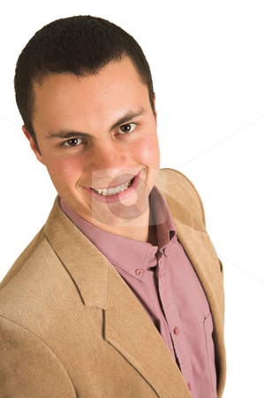 Businessman #210 stock photo, Businessman in a pink shirt and camel coloured jacket, smiling by Sean Nel