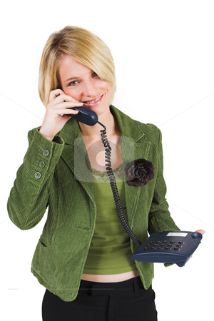 Heidi Booysen #1 stock photo, Business woman green jacket, talking friendly on the phone by Sean Nel