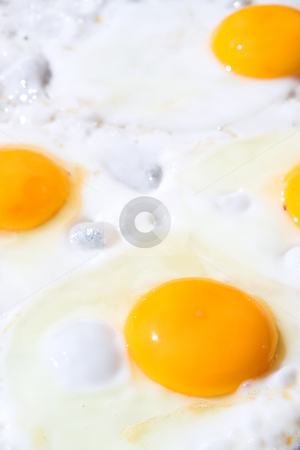 Eggs on a frying pan stock photo, Fresh eggs being fried sunny side up on a large frying pan. Most of the egg white has already cooked. Shallow Depth of Field, focus on front egg by Sean Nel