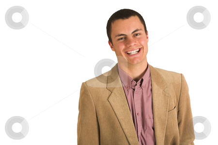 Businessman #198 stock photo, Businessman in a pink shirt and camel colored jacket, smiling. by Sean Nel