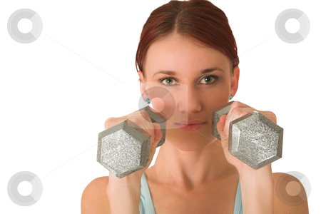 Gym #97 stock photo, Woman standing with weights. by Sean Nel