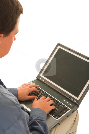 Businessman #58 stock photo, Man typing on laptop. by Sean Nel