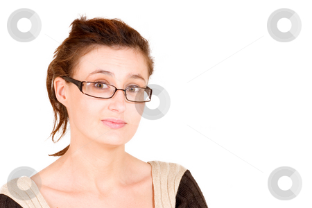 Business Lady #100 stock photo, Business woman with glasses, looking puzzled by Sean Nel