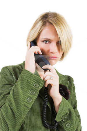 Heidi Booysen #11 stock photo, Business woman green jacket, talking seriously on the phone by Sean Nel