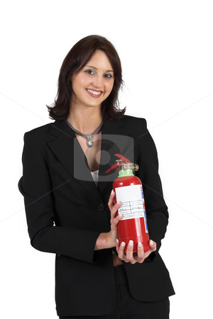 Luzaan Roodt #14 stock photo, Business woman in formal black suit, holding fire extinguisher by Sean Nel