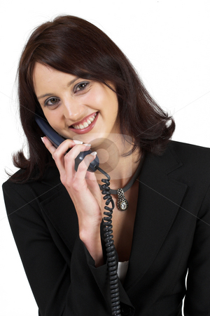 Business Lady #64 stock photo, Business woman with blue telephone by Sean Nel