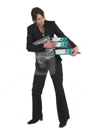Business Lady #84 stock photo, Business woman with black file by Sean Nel