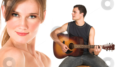 Face of a beautiful nude woman with man playing guitar stock photo, Close-up of the face of a beautiful brunette woman isolated on white. Young man in jeans and a t-shirt playing guitar and singing a song. Possibly lovers, implied nudity by Sean Nel
