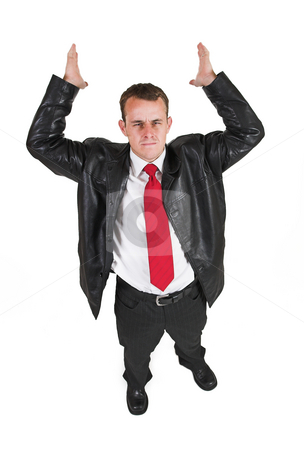 Tollie Booysen #3 stock photo, Businessman in black leather jacket, white shirt and red tie. Hands up in the air. by Sean Nel