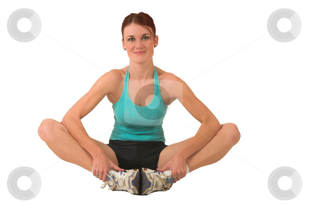 Gym #176 stock photo, Woman in gym wear sitting with her feet together. by Sean Nel