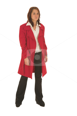Business Woman  stock photo, Business woman with brown hair, dressed in a white shirt with red overcoat by Sean Nel