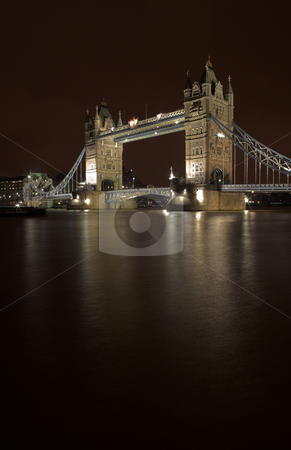 Tower Bridge #6 stock photo, The bascule Tower bridge in London, Night Scene over the Thames - Copy space by Sean Nel