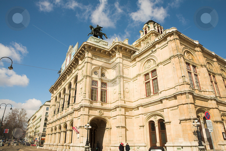 Statue on top of building in Vienna stock photo, Statue of a man on top of horse on a roof of building in Vienna Austria by Sean Nel