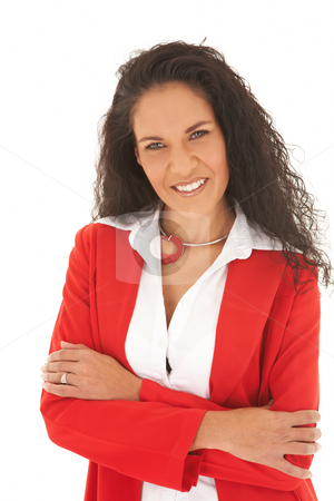 Young adult businesswoman stock photo, Young adult Caucasian businesswoman wearing a red suit with long brown hair. NOT ISOLATED by Sean Nel