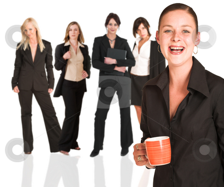 Business group of woman only stock photo, A group of young modern businesswoman of different backgrounds, on a white background. For use as a business background. The person in front of the business group is sharp, while the back row is slightly blurred. by Sean Nel